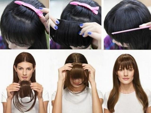 Как сделать челку не обрезая волосы: временная, фальшивая имитация из своих прядей без стрижки и не подстригая локоны, все возможные варианты, фото, видео, пошаговые инструкции, советы специалистов