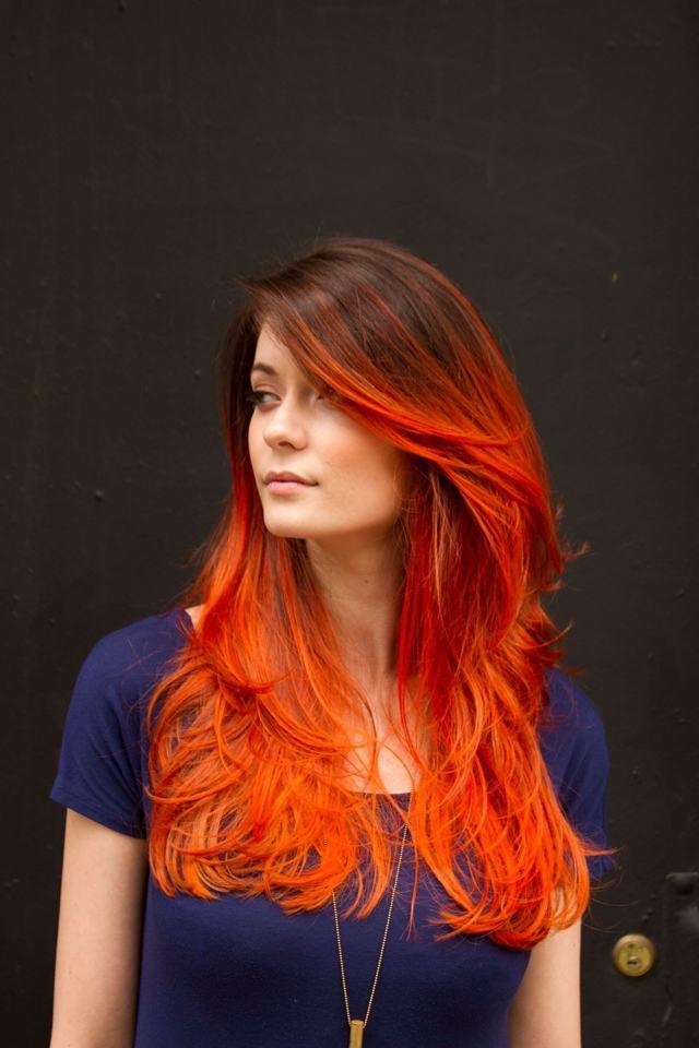 Омбре на рыжие волосы, фото причесок омбре с красным, рыжим, белым цветом на волосах средней длины и не только, как сделать в домашних условиях