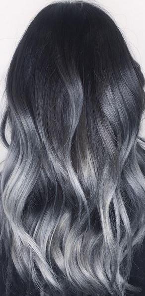 Пепельное омбре, фото окрашивания в серый цвет, с серебристым оттенком, пепельных тонах, седое омбре