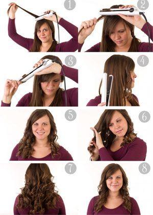 Как сделать локоны и кудри утюжком выпрямителем на длинные волосы, прически с завивкой волос утюжком пошагово, видео, фото