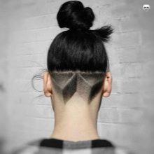Выбритый затылок у девушек: фото с узором, с длинными, средними, короткими волосами, модные рисунки для сбритого и выстриженного затылка у женщин, сколько стоит прическа