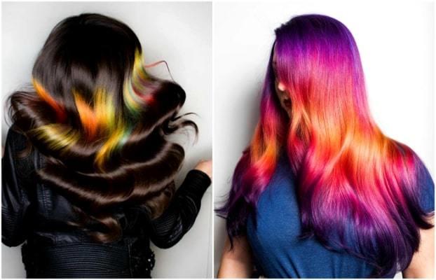Цветное, яркое, радужное окрашивание волос: виды и техники разноцветной покраски на темные, светлые волосы, чем красят волосы в яркие цвета, фото