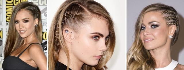 Косички на висках: как плести тугие косички корнроу, как получить эффект выбритого виска с их помощью, фото сбоку, по бокам и с одной стороны головы, кто из знаменитостей делает такую причёску