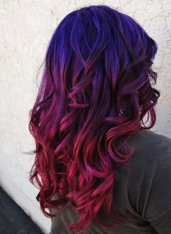 Варианты фиолетового омбре: с синим, розовым оттенком на светлых и темных волосах, техника окрашивания амбре с фиолетовым цветом, фото